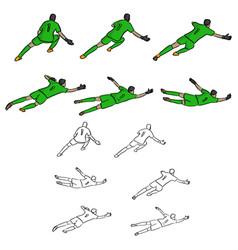 Set goal keeper in green uniform vector