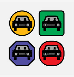 set icons at the car bus vector image