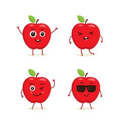 set of apple characters in different expressions vector image