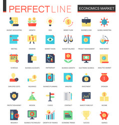 set of flat economics market icons vector image