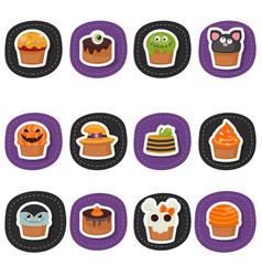Set of halloween cupcakes set of halloween vector
