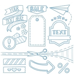 Set of sale ribbons and elements vector