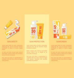 set of sun safety protection sunscreen posters vector image