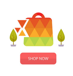 shop now the stylized bag from triangles backgroun vector image