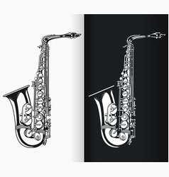 Silhouette jazz tenor saxophone music vector