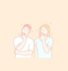 Sleepy people tired friends yawning couple vector