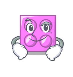 Smirking toy brick character cartoon vector