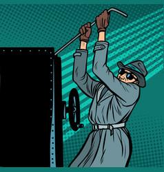 spy breaks into safe vector image