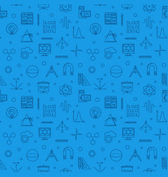 stem learning blue line seamless pattern vector image