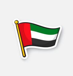 Sticker flag united arab emirates vector