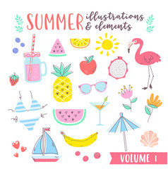 summer design with fruits tropical and beach vector image