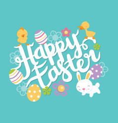 super cute happy easter lettering phrase vector image
