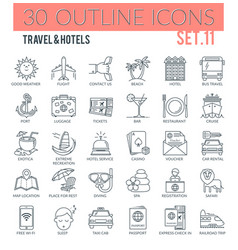 travel hotels icons vector image