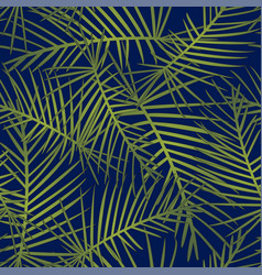 Tropical leaves on navy blue background vector