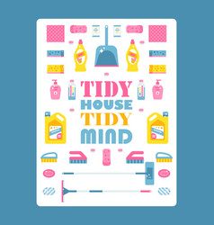 Typographic poster with isolated icons cleaning vector