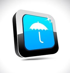 Umbrella 3d square button vector