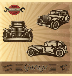 Vintage garage retro banner vector