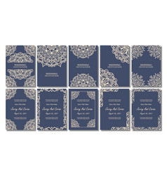 Vintage wedding invitation card with floral vector