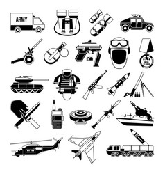 War monochrome icons set silhouette of military vector