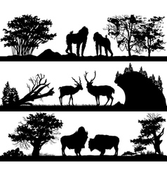 Wild animals monkey deer musk ox in different habi vector