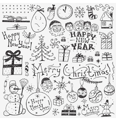 Winter holidays doodles vector image
