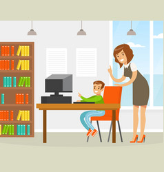 woman teacher helping elementary school student in vector image