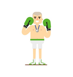 young smiling boxer in gloves vector image