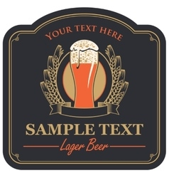 beer label with a glass vector image