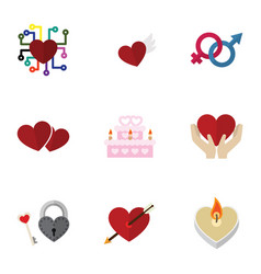 Flat icon heart set of wings emotion heart and vector