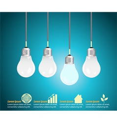 Four light bulbs hanging against blue background vector image vector image