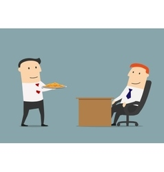 Manager giving profit on a silver platter to boss vector image