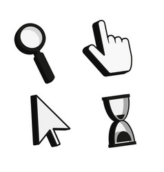 cursor icons 3d finger arrow magnifying glass vector image