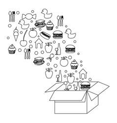 figure box open with color food icon vector image vector image