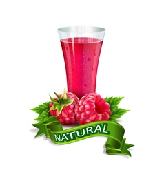 glass of juice with raspberry and ribbon vector image vector image