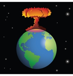 Nuclear weapon exploding on Earth vector image