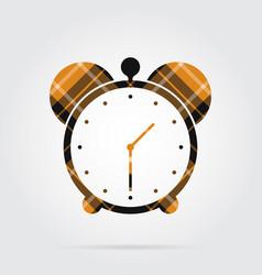 orange black tartan isolated icon - alarm clock vector image