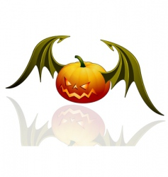 halloween pumpkin with wings vector image vector image