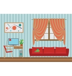 Home Interior flat design Workspace for vector image vector image