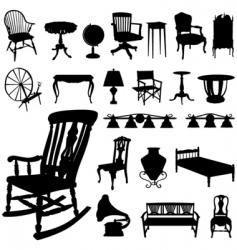 set of antique furniture vector image vector image