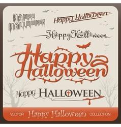 Set of happy halloween greetings typography vector image