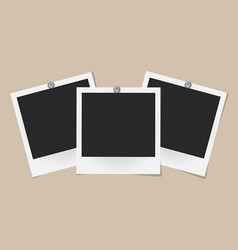 Set of realistic photo frames on metal rivets vector