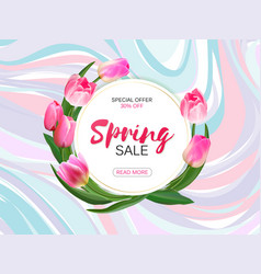 spring sale background with realistic vector image
