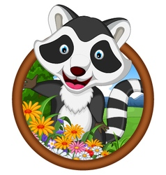 raccoon cartoon in frame vector image vector image