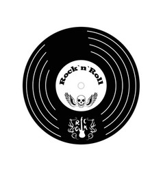 rock n roll vinyl and skull vector image