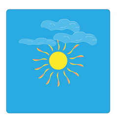 The sun and cloudlet sign on blue background vector
