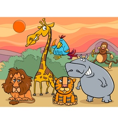 wild animals group cartoon vector image vector image
