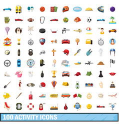 100 active icons set cartoon style vector