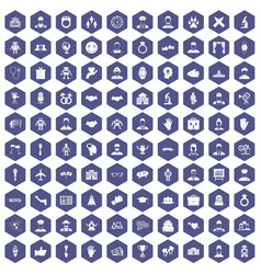 100 handshake icons hexagon purple vector