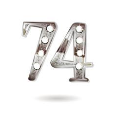 74 years anniversary celebration design vector