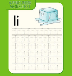 Alphabet tracing worksheet with letter i and i vector